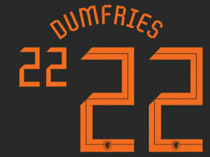2020 2021 OFFICIAL NETHERLANDS AWAY NAME SET DUMFRIES 22 = PLAYER SIZE