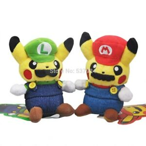 2PCS Pokemon Pikachu Squirtle Plush Doll Super Mario Luigi Stuffed Toys Gift