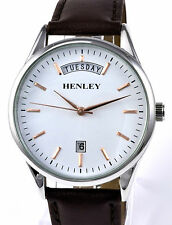 Henley Gents Understated Real Leather Day Date Watch Brown Strap White Dial NEW