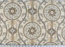 Drapery Upholstery Fabric Cotton Ikat Print Floral Emblems - Gray / Brown / Tan
