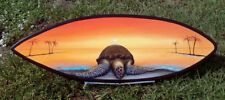 Beached Sea Turtle Surfboard Wall Art Hand painted original nautical sea life