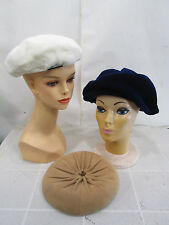 3 Vintage Beret Style Ladies Hats- White Fur, Blue Velvet, Tan Leather