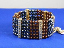 Jessica Simpson Gold DESERT FOX Brown/Smoke Cherry Bead Beaded Stretch Bracelet