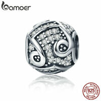 Bamoer Retro 925 Sterling Silver European Charm bright note Fit Bracelet Jewelry