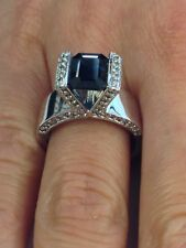 Natural Sapphire with Natural Diamond Cluster Ring Solid 14kt White Gold
