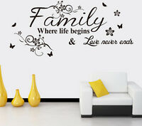 Family Where Life Begins Art Wall Sticker Quote Words Decal Vinyl Mural Decor