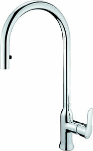 Modern Chrome Kitchen Monobloc Mixer Pull Out Nozzle Tap Faucet Swivel Spout