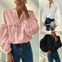 UK Womens Ruffled Frilled Long Sleeve Blouse Holiday Top Button Down Tunic Shirt
