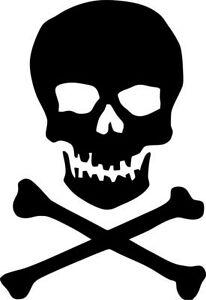 Skull & Cross Bones Custom Sticker Vinyl Decal UV 100mm x 70mm