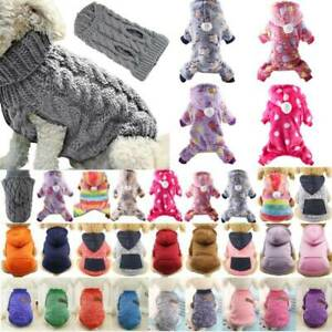 Pets Puppy Dogs Cat Knit Sweater Jumper Hooded Warm Costume Clothes Coat Outwear