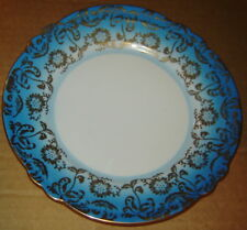 "JLMENAU GRAF VON HENNEBERG PORZELLAN 1777 GOLD BLUE GERMANY PORCELAIN PLATE 7.5"""
