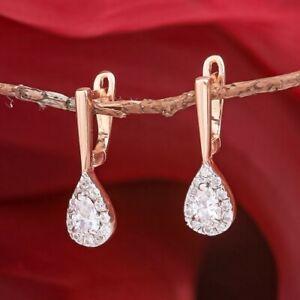 Russian solid rose gold 585 /14k  CZs dangle drop earrings NWT Very Beautiful