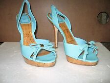 Christian Dior Baby Blue Patent Leather Open Toe Shoes 37.5