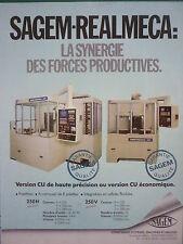 12/1985 PUB SAGEM REALMECA MACHINES-OUTILS AERONAUTIQUE ORIGINAL FRENCH AD