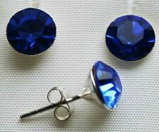 Silber Ohrstecker 8  mm  Paar Farbe leuchtend blau  (Capri Blue)