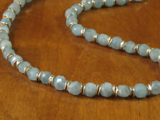#12 Frosted Aquamarine with Thai Fine Silver Accents Bead Necklace 18""
