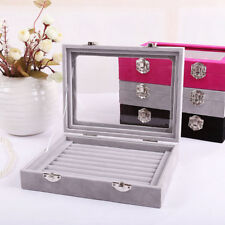 New Grey Jewelry Ring Display Box Storage Case,Earring Organizer Tray Holder