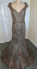 Ivonne D MON CHERI Formal Evening Mother-of-Bride GOWN 16 Bronze Beaded Mermaid