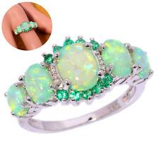 Grace 925 Silver Filled Blue Fire Opal Sapphire Ring Women Wedding Jewelry Gift