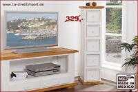 Schubladenschrank, CD Tower Kommode, Pinie massiv, Landhausstil, weiß, Shabby