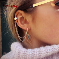 Chic Punk Silver Dangle Ear Cuff Clip Stud Wrap Earring with Chain for Women…