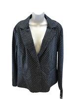 NEW Light Women's Blue/White Polka Dot Long Sleeve Blazer Jacket Sz 2X