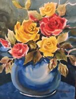 "9""X12"" Pamela Wilhelm Original Watercolor Yellow & Red Roses In Turquoise Vase"
