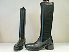 FARRUTX BLACK SYNTHETIC LONG PULL ON BOOTS UK 4 EU 37 (3292)