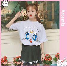 Anime Sailor Moon Artemis White Cat Cosplay T-shirt Summer Short Sleeve Tee Top