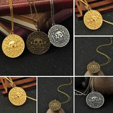 Film Pirates of The Caribbean Medallion Skull Charm Necklace Aztec Coin Pendant