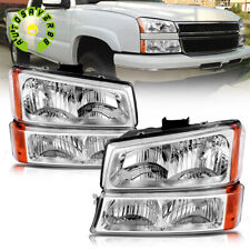 For 2003 2006 Chevy Silverado Chrome Housing Amber Side Headlight Bumper Lamps Fits More Than One Vehicle
