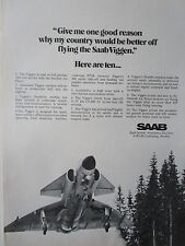 10/1973 PUB SAAB 37 VIGGEN FIGHTER ROYAL SWEDISH AIR FORCE ORIGINAL AD