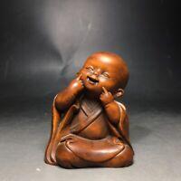 Collect Boxwood Japanese Netsuke carved monk meditation buddha Statue figurines