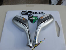 Gas Scooter MirrorS w/ Turn Signals & 8MM MOUNTING  in SILVER color ALL BRANDS