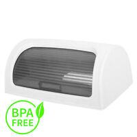 Plastic Bread Bin Box Kitchen Food Roll Top Storage Loaf Curved BPA Free WHITE