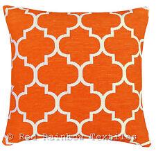 Orange & Cream 17 inch Luxury Chenille Moroccan Design Geometric Cushion Cover