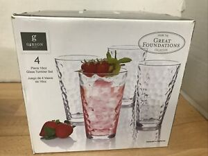 Gibson Home Great Foundations Collection - Set of 4 Tumblers Glasses 16 oz NEW