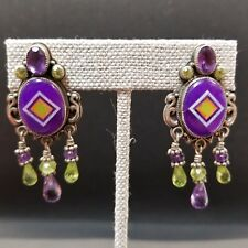 Aldrich Sugilite, Opal, Amethyst, & Peridot Earrings