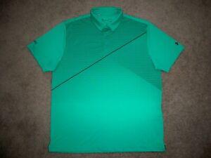 Men's NWOT UNDER ARMOUR HG Loose Polo L LIGHT GREEN w/Stripes w/UA & Sponsor
