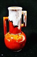 ART DECO Double Handle Vase Drip Glaze