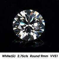 Brilliant White Natural Diamond G Color 2.75cts 9mm Round Shape VVS1 Clarity
