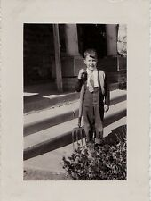 Vintage Antique Photograph Cute Little Boy Holding A Pitchfork in Front of House