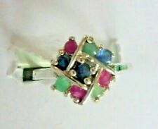 Emerald Ruby & sapphire ring size  7.25
