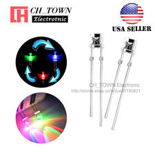 100pcs Flat Top 5mm RGB Slow Flashing Water Clear Rainbow Flash LED Diodes USA