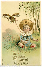 BEBE AVEC UN CERF-VOLANT.INSECTE.DORURE GILDING. CHILD WITH KITE GAUFRé EMBOSSED