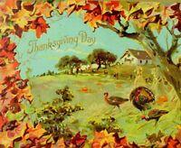 Circa 1910 Lovely Fall Leaves Thanksgiving Turkey Raphael Tuck Postcard P36