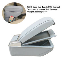 7USB Rechargeable Car Central Container Armrest Box Storage Accessories w/Light