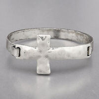 Antique Silver Simple Religiously Inspired Hammered Cross Cuff Bracelet