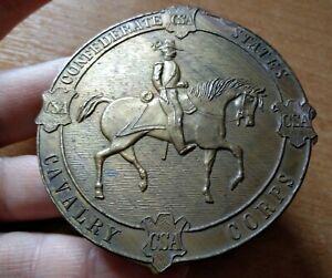 London England  maker. Vintage brass belt buckle Confederate States CSA Cavalry