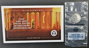 2020 W West Point Special Edition Reverse Proof Jefferson Nickel In Envelope